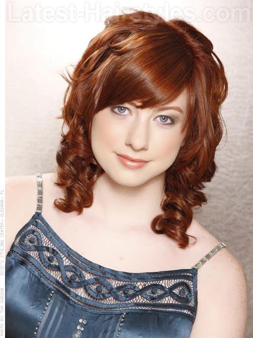 Copper Curls Cute Prom Hairstyles For Medium Length Hair