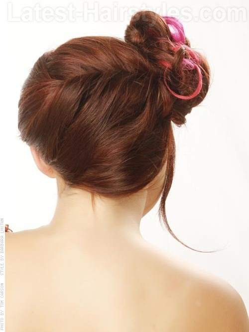 Crimson Beauty Pretty Bun Hairstyle for Prom - Back View