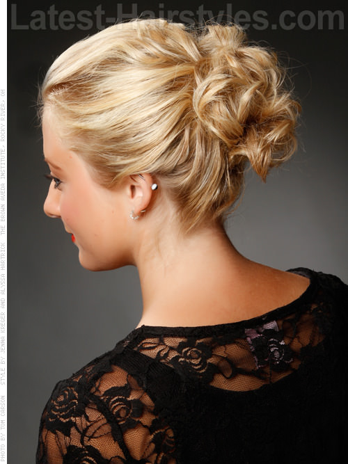 Fresh and Fun Curly Updo for Medium Length Hair