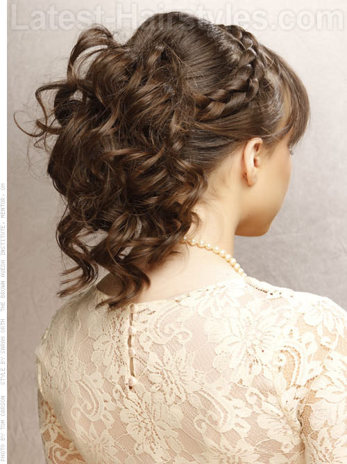 Girly Glamour Adorable Updo with Long Bangs Braid and Curls - Back View