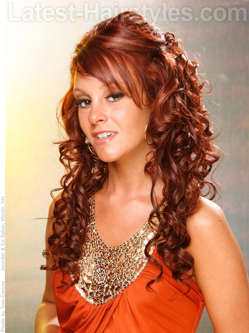Half up half down prom hairstyles pictures and how tos long curled half up half down hairstyle for prom urmus Choice Image