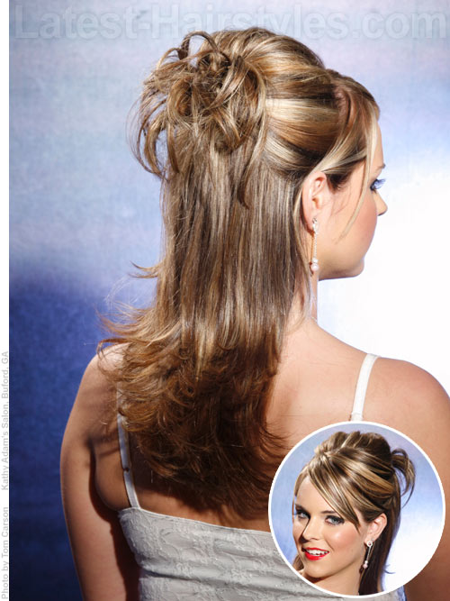 Long layered hairstyle in a half updo for prom