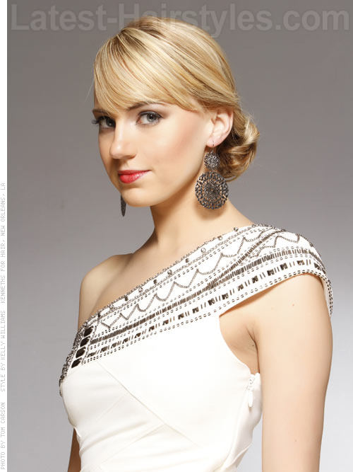 Low Knot Blonde Prom Updo with Long Bangs