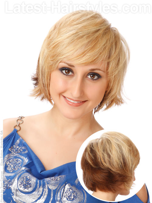A short layered hairstyle for older women