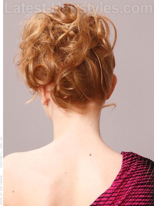 Pretty in Pink Adorable Loose Curly Updo Back View
