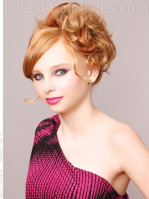 Pretty in Pink Adorable Loose Curly Updo