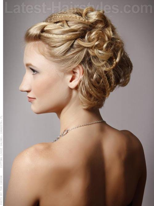 Prom Updo Elegance Cute Crimped Look with Headband Side View with Curls