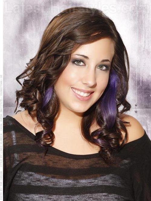 Purple Pop Medium Length Prom Style with Curls and Hair Extensions