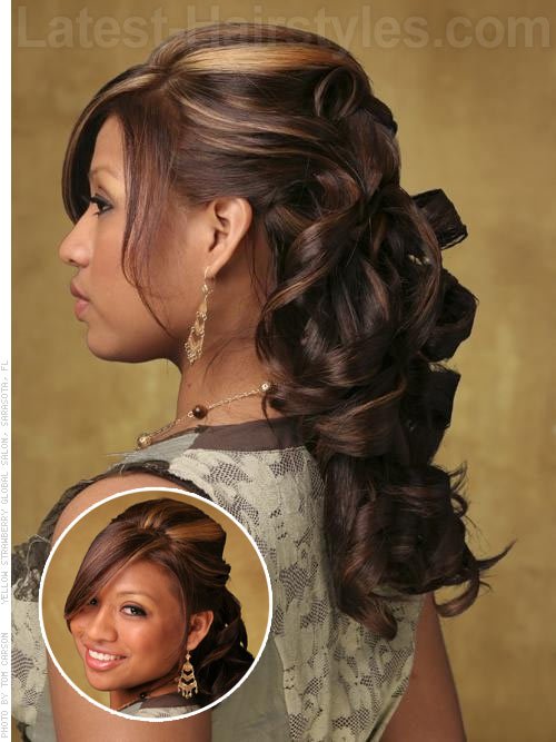 Ribbon curled half up half down prom hairstyle