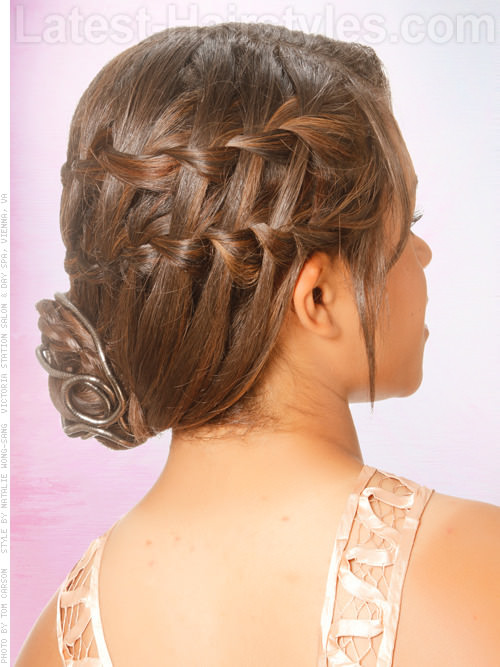 Wonderful Waterfall Low Chignon Prom Updo - Side View