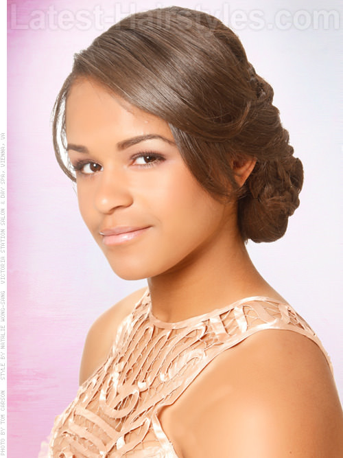 Wonderful Waterfall Low Chignon Double Braid Prom Updo