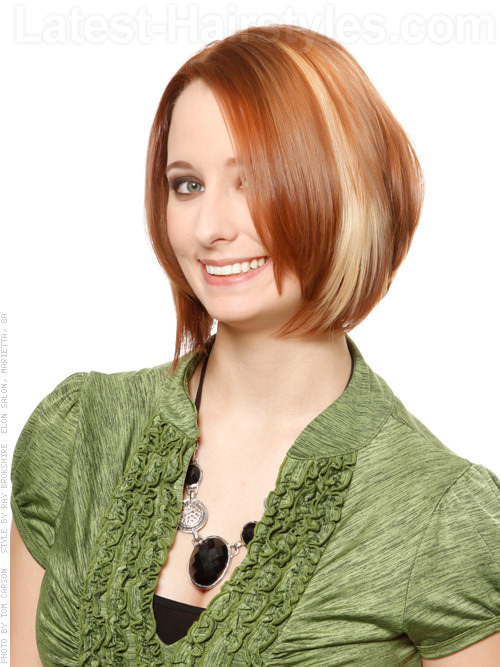 Copper and Blonde Underlight Hair Color Straight Bob