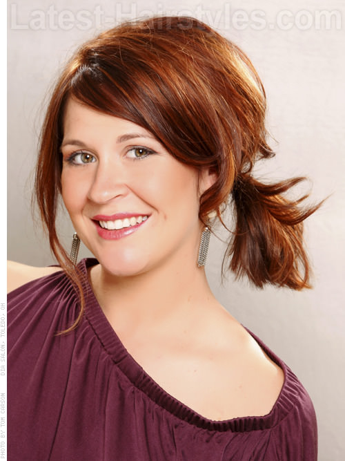 Copper Sunset Hair Color Face Framing Style Side Ponytail