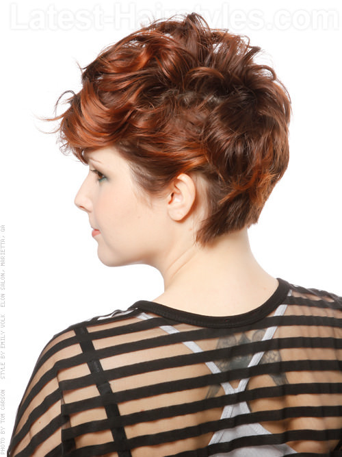 Fun Cropped Wavy Look with Curls and Bright Copper Highlights Back View