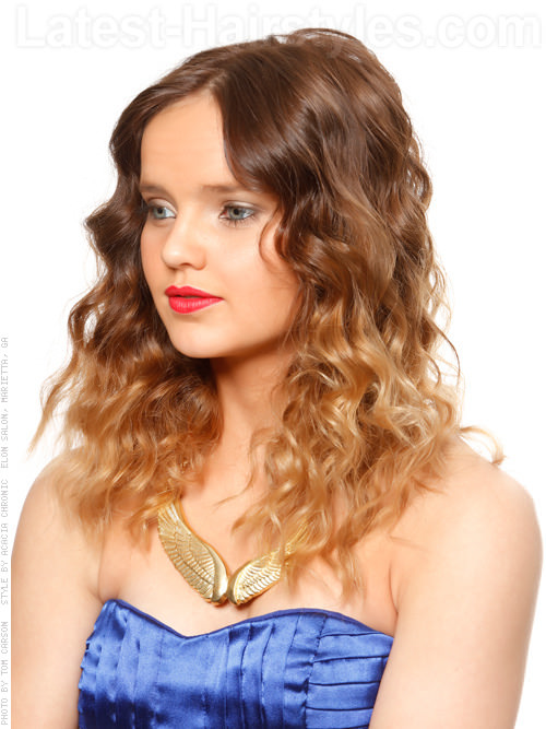 Goddess Ombre Soft Blended Hair Color with Curls and a Center Part