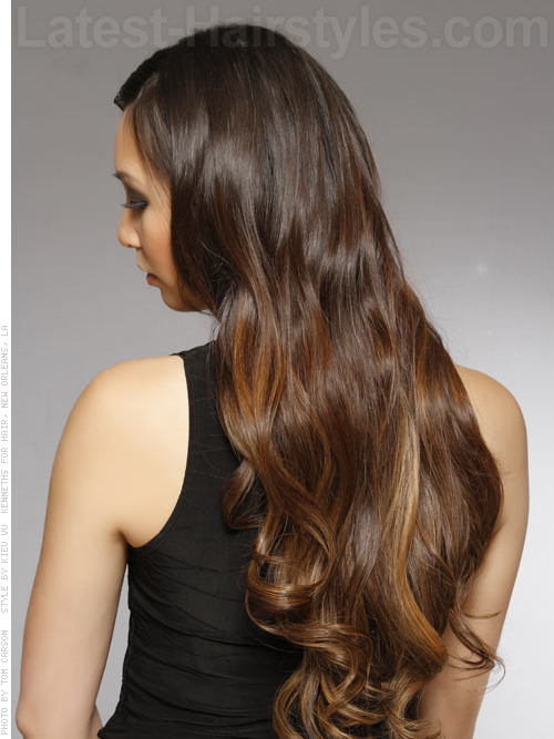 Long Soft Wavy Style with Ombre Hair Color Highlights Back View