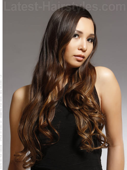 Long Soft Wavy Style with Ombre Hair Color Highlights