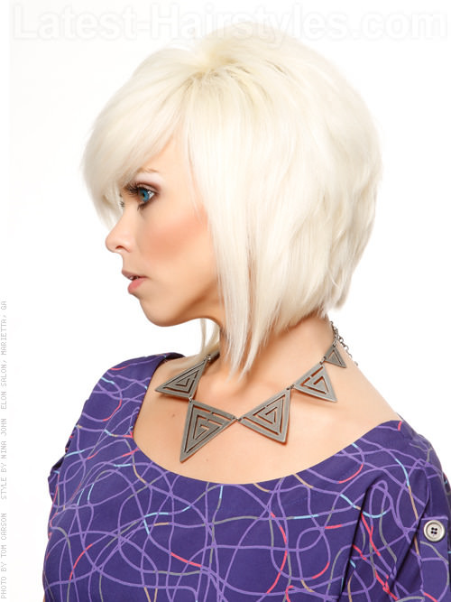 Platinum Colored Radiance Medium Tapered Style with Long Bangs Side View