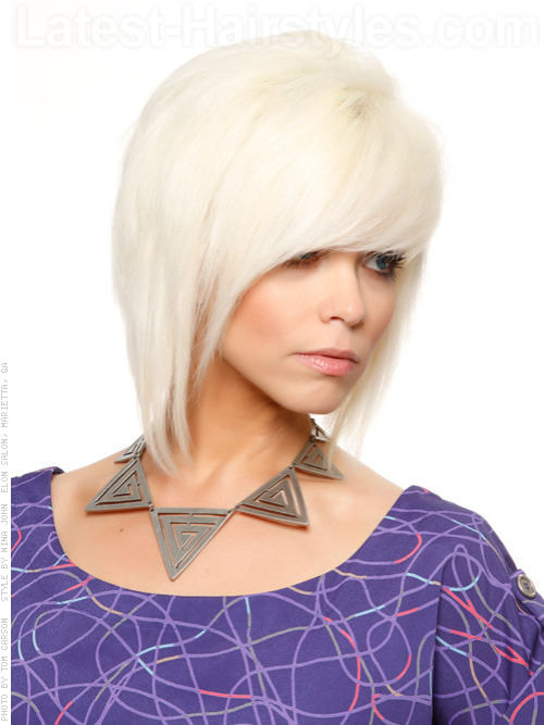 Platinum Colored Radiance Medium Tapered Style with Long Bangs