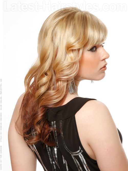 Reverse Ombre Blonde and Brown Hair Color Side View
