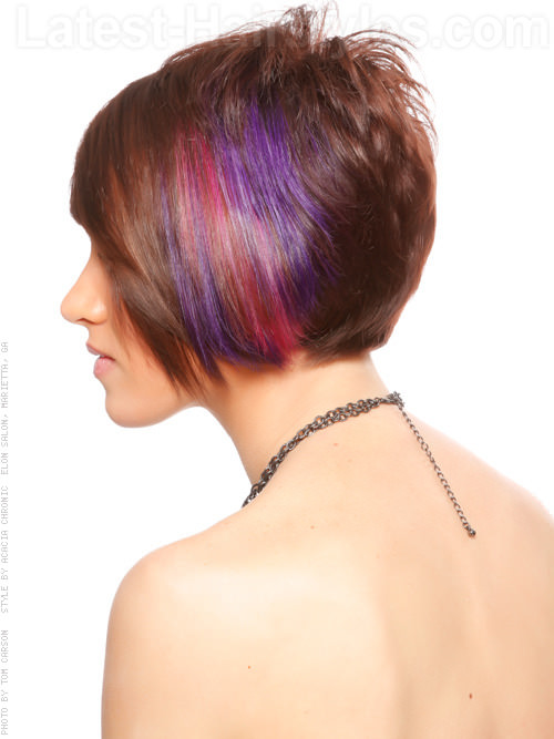 Short Bright Multicolor Hair Color with Bangs Side View