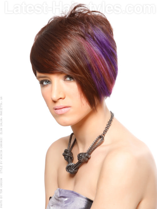 Short Bright Multicolor Hair Color with Bangs