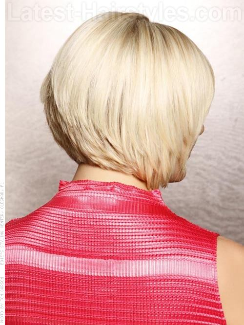 Chiseled Blonde Crop Chin-Length Hairstyle - Back View