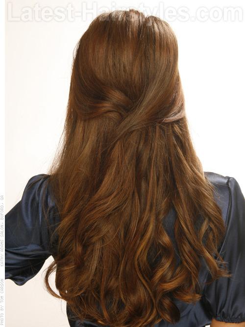 wavy half updo hairstyles 2