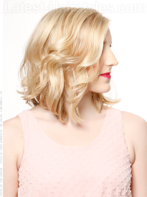 Medium Blonde Soft Curls for Medium Length Hair Side View