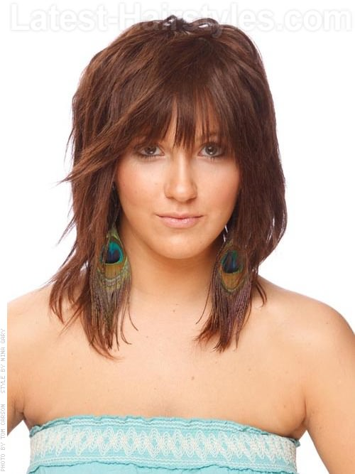 Medium Brown Textured Style with Bangs