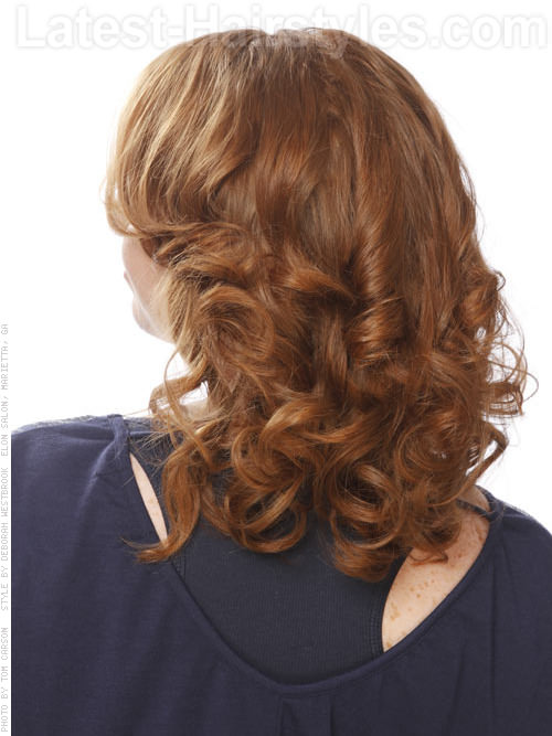 Soft Auburn Curls - Back View