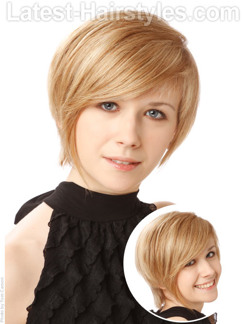 A cute short pixie hairstyle for school