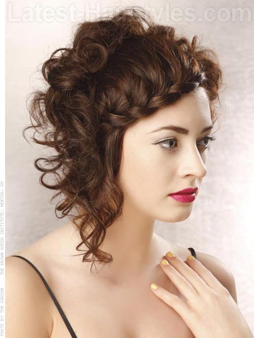 Short Curly Hairstyle With A French Braid Fringe