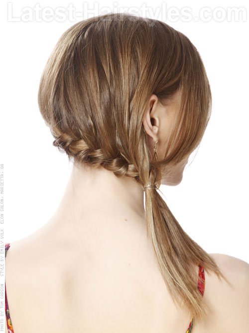 Side Ponytail and Braid Wispy Fun Style Side View
