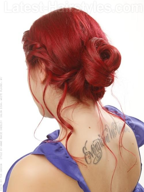 Side Updo Twists with Bun Red Hair Back View