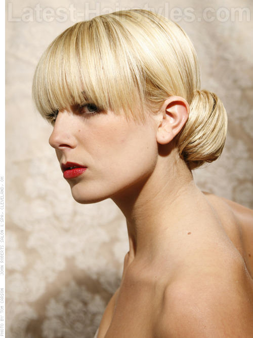 The Chignon Blonde Updo with Long Bangs Side View
