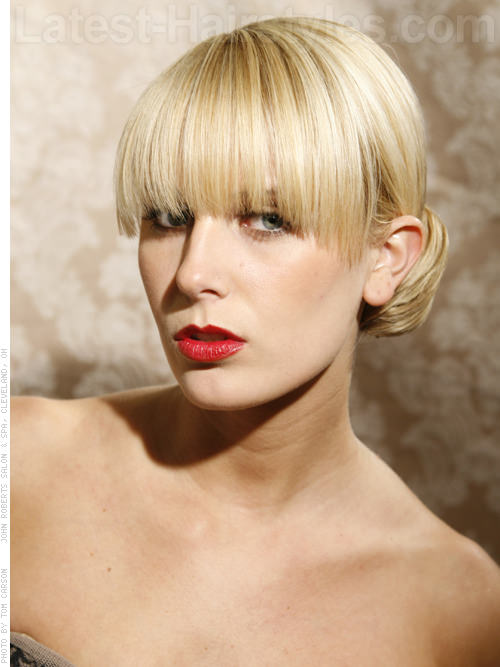 The Chignon Blonde Updo with Long Bangs