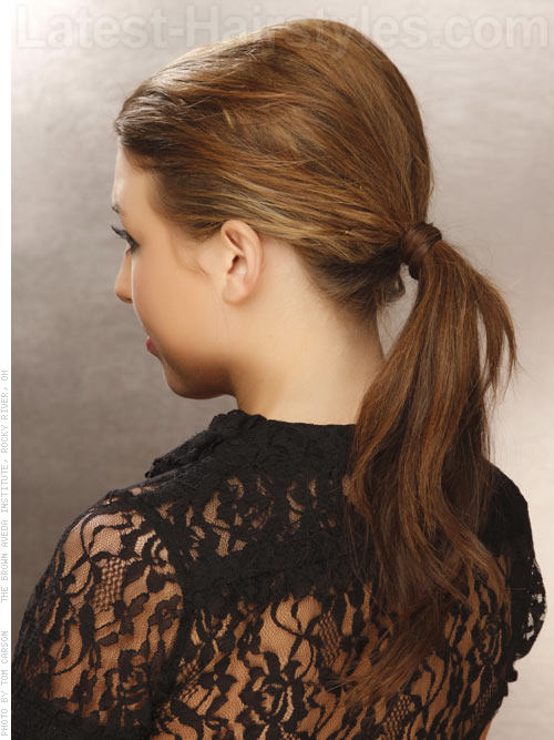 Wavy Ponytail Style with Volume Back View