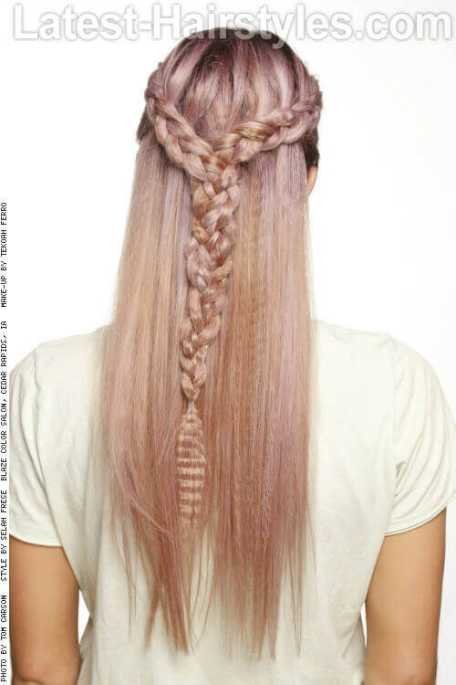 Double Braid Half Updo Back