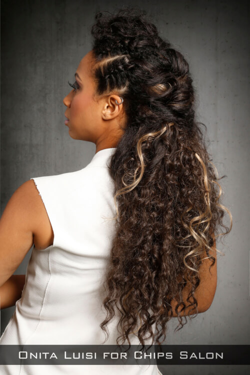 Trendy Half Updo with Braids Back