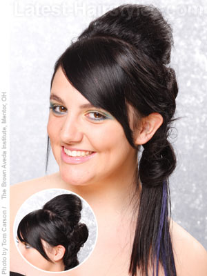 Art deco side ponytail for long hair
