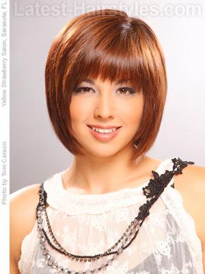 Medium bob hair with small choppy bangs