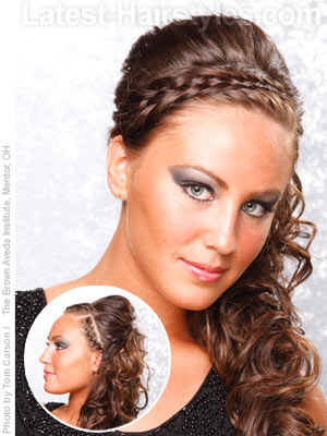 Long braided hair with side ponytail