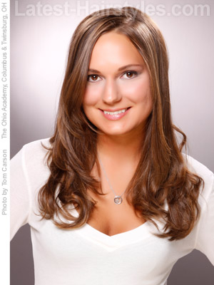 Easy long chocolate brown hairstyle