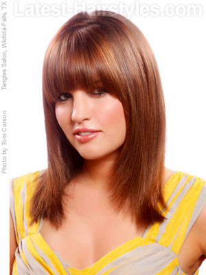 Long hair with round framed straight bangs