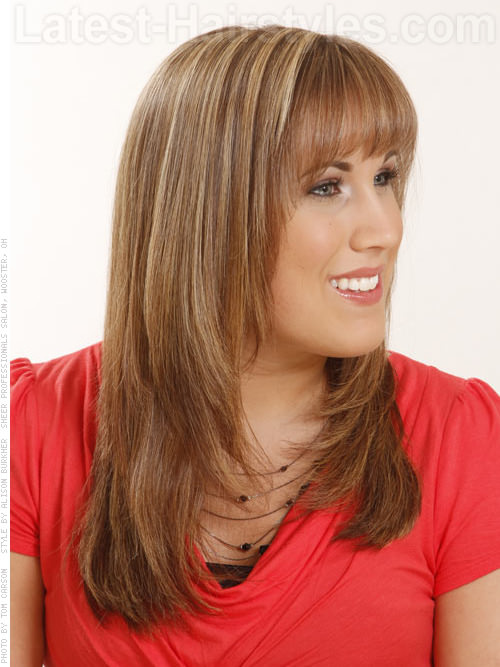 Long Honey Brown Layered Style with Bangs Side View