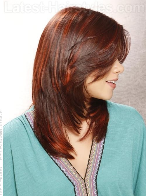 Red Raven Highlighted Smooth Medium Length Style Side View