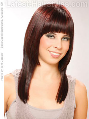 Long hair with rounded blunt bangs
