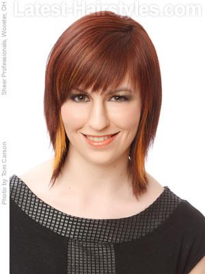 Medium shag hairstyle with choppy bangs