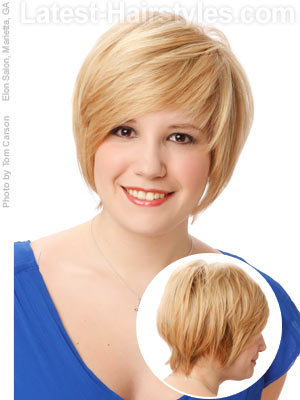 short and sweet hairstyle for a round face